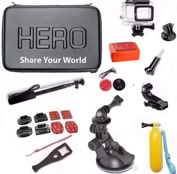 Kit Com Caixa Estanque P Gopro Hero 5 Hero 6 Kit Mala Grande