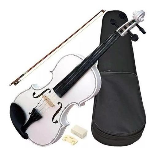 Violino Acústico Vdm14 1/4 Branco Com Arco Breu Estojo Novo
