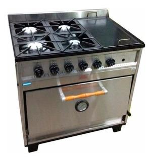 Cocina Industrial Tecnocalor 87 Cm 4 Hornallas + Plancha