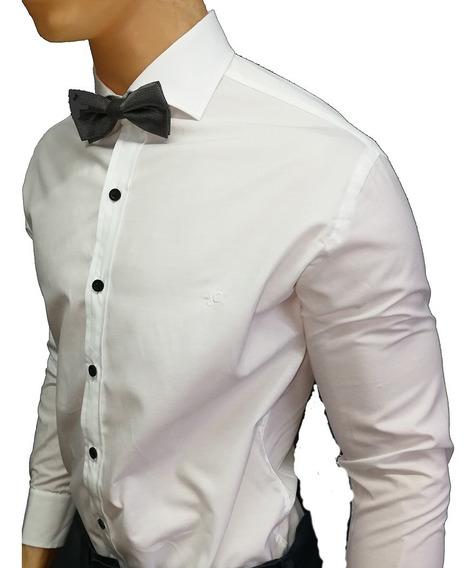 Camisa Lisa Blanca Divarezzi Slim Fit Con Botón Negro Xs-xxl