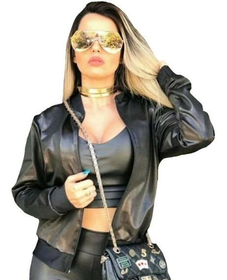 Jaqueta Bomber Blazer Feminina Em Cirrê Couro Fake Inverno