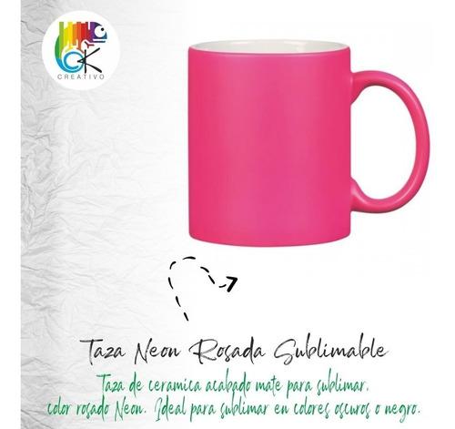 Taza Neon Rosada Sublimable - Ok Creativo