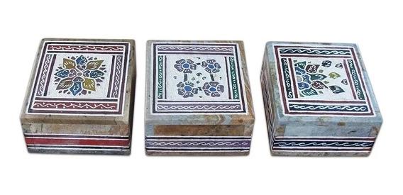 Caixa De Pedra Sabão Porta Joias Trecos Natural Decorada Tamanho M!