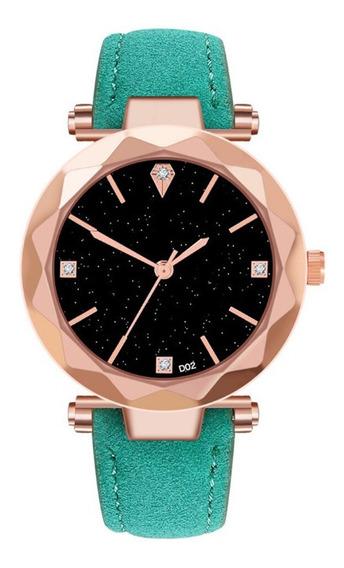 Relógio De Pulso Quartz Feminino De Couro Verde