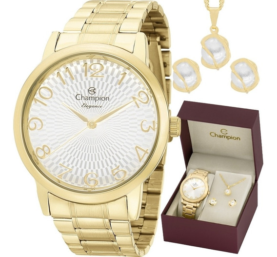Relógio Champion Analógico Cn26733w Feminino + Semijoia