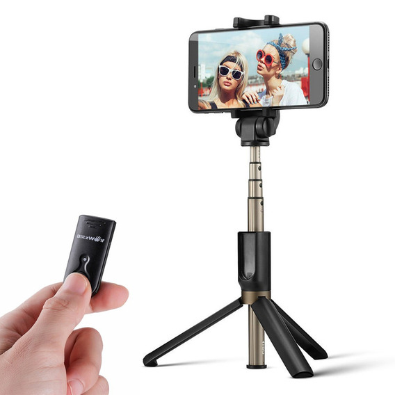 Blitzwolfbluetooth Selfie Vara Tripé Handheld Monopé Obturad