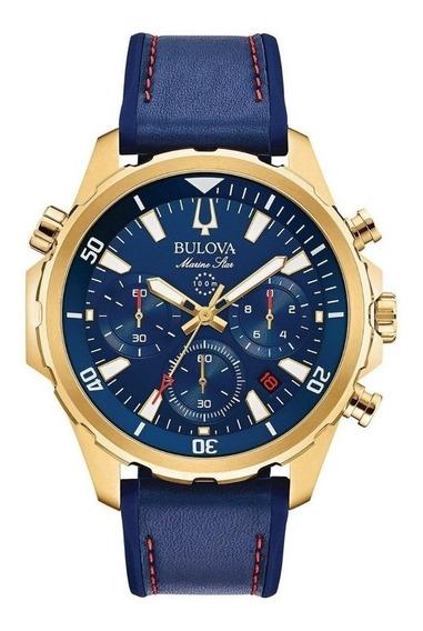 Relógio Bulova Masculino Marine Star 97b168 Dourado Azul