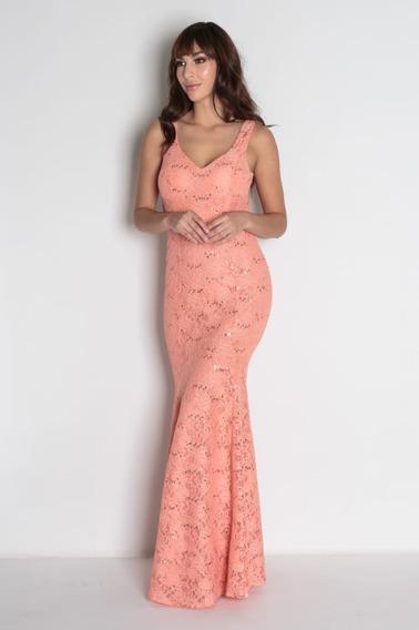 Vestido Festa Sereia Azul Tiffany Pink Coral Renda Longo