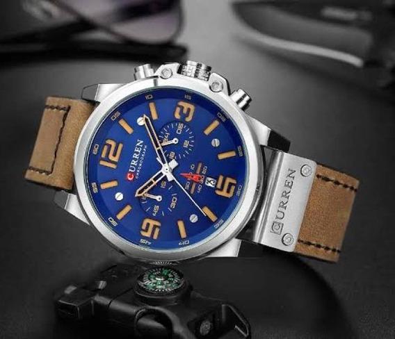 Relógio Masculino Curren Cronógrafo Pulseira De Couro +caixa