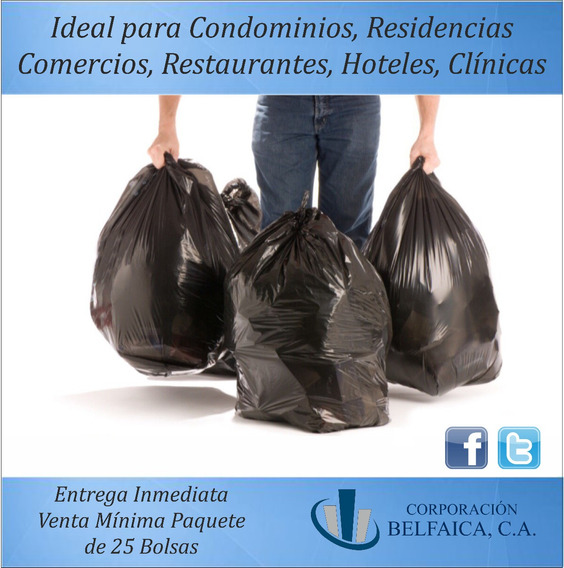 Bolsas Plasticas Negras Para La Basura 40 Kilos Cal 12/14