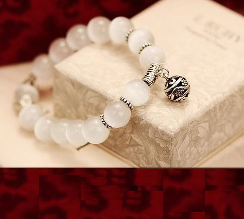 Pulseira Bracelete Budista Cristal Branco Guizo 60236