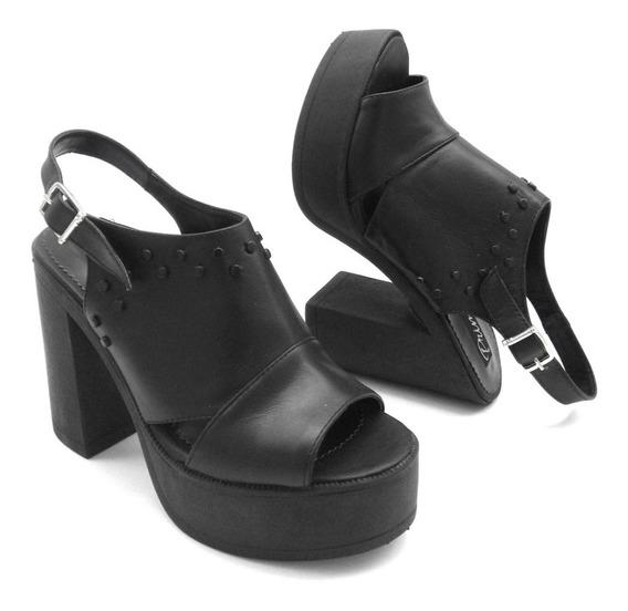 Sandalias Plataformas Tachas Zapatos Mujer Cuero Moda 1260pm