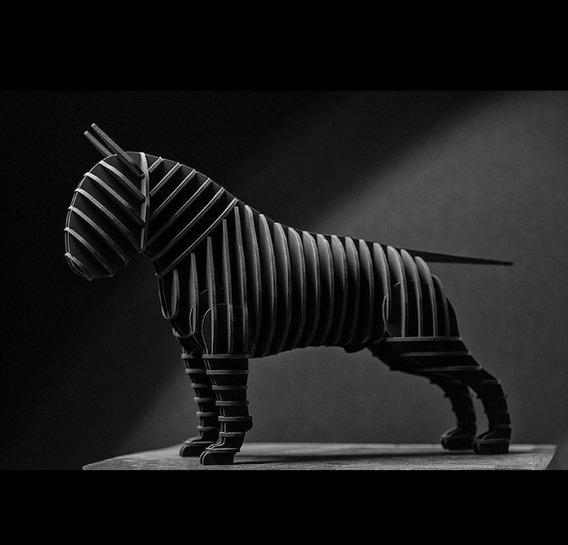 Vector De Corte Cnc Escultura Perro Bull Terrier 3d