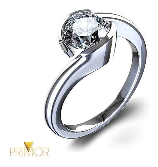 Anel Solitário De Noivado Ouro Branco Diamante 30 Pts Nv006