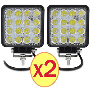 Pack 2 Foco Neblinero 48w 16 Led Rectangular/ Technosouless