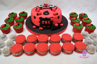 Mesa Dulce Lady Bug 30 Personas Torta Cupcakes Cakepops