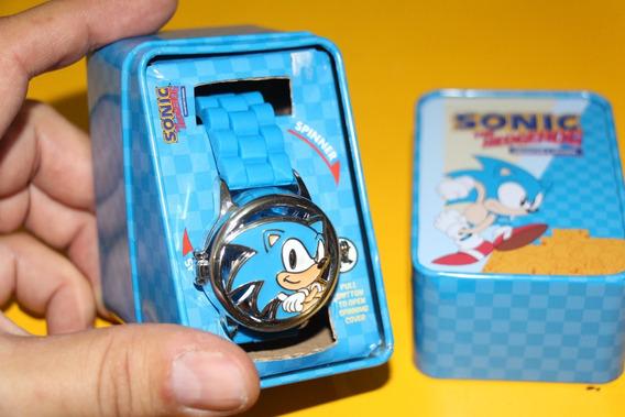 = Relogio Pulso Sonic The Hedgehog Mostrador Gira Sega