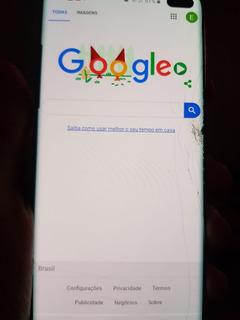 Galaxy Samsung S10 Plus 128gb Vidro Trincado - Funcionando