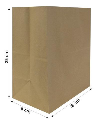 Imagen 1 de 5 de Bolsa Papel Kraft 18x8x25 Cm Delivery Sin Manija 10 Unidades