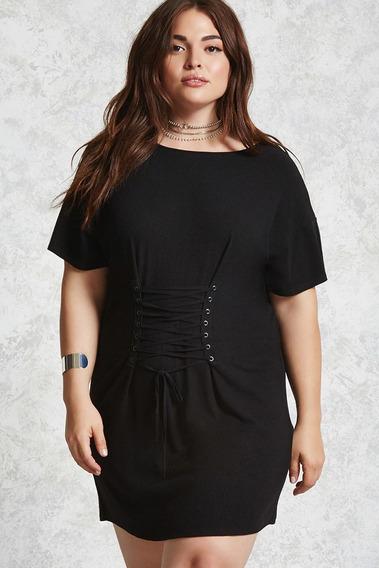 Forever 21 Plus Size Vestido Corto Negro Corset Ajusta 0xl