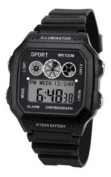 Relógio Masculino Digital Preto Esporte Militar Ultra Light