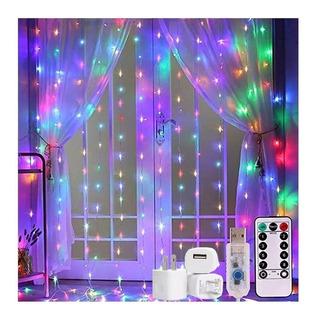 Cortina Led Luces 3x3m Decoración Fiestas Usb Multicolor