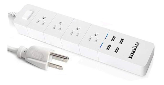 Multicontacto Regleta Enchufe Wifi Inteligente Glückluz 4usb
