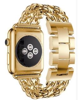 Pulseira De Aço Trançado P/ Apple Watch 38/40mm - Dourado