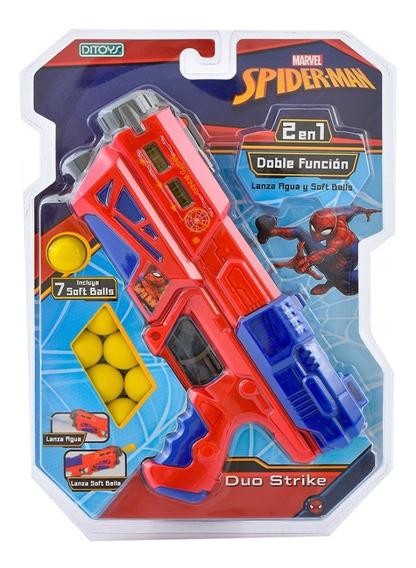 Pistola Duo Strike Ditoys Lanzador De Agua Y Bolas Spiderman