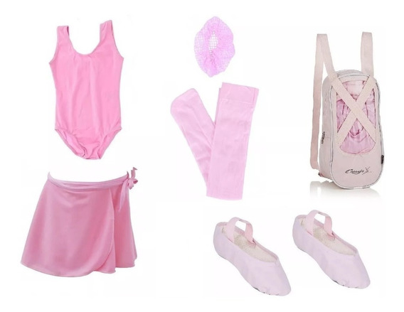 Roupa Ballet Bailarina Kit Uniforme Aula Infantil Com Bolsa
