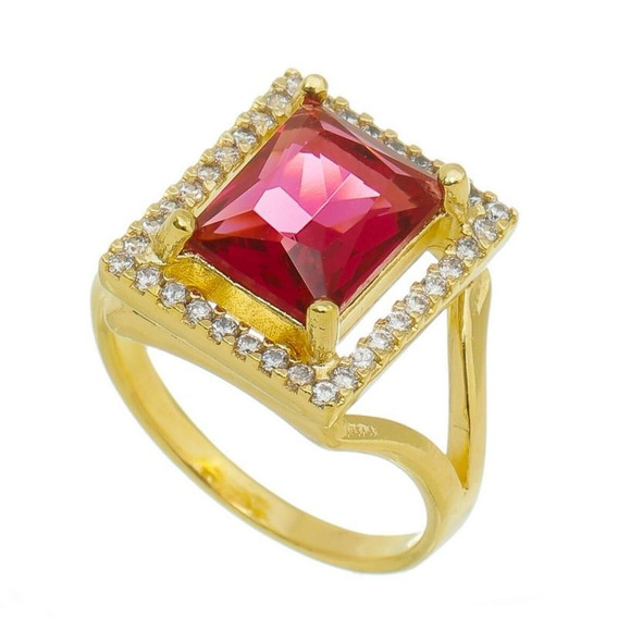 Anel Pink Zirconias 15 Microns Ouro 18k Lindo