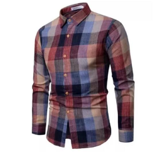 Camisa Social Masculina Slim Xadrez Moda Clássico Camisa