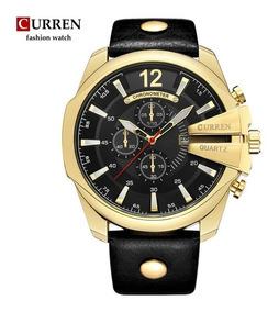 Relógio Masculino Social Curren Luxo Barato Dourado