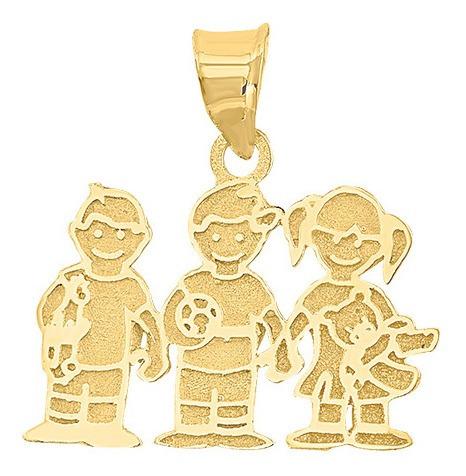 Dije 2 Niños 1 Niña Oro 10k - 1672