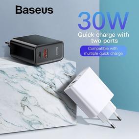 Adaptador Baseus 30w Cargador Carga Rapida 4.0 Dual Type C