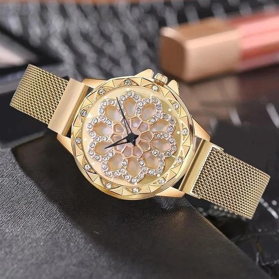 Relógio Importado Crystal Spinner Dourado (preço De Revenda)