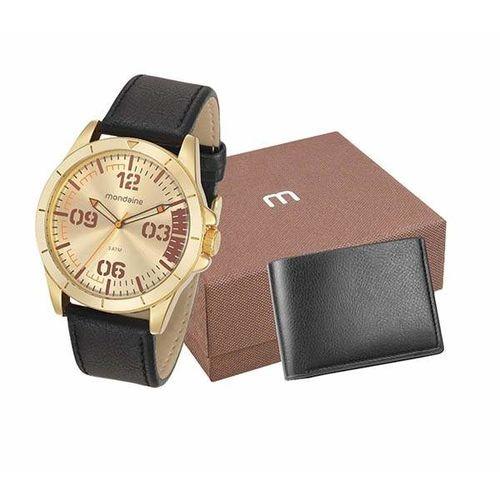 Relógio Mondaine Dourado Couro C/ Carteira 76702gpmvdh2