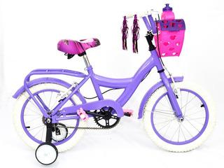 Bicicleta Infantil Playera Nena R14 Niña Rueditas Caramañola