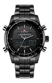 Relógio De Pulso Naviforce Quartzo Aço Led 9024 Preto