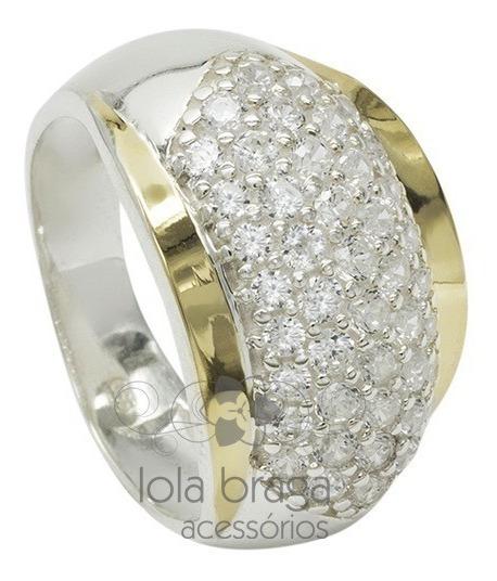 Anel Feminino Prata 950 2 Apliques Ouro Cravejado Zircônias