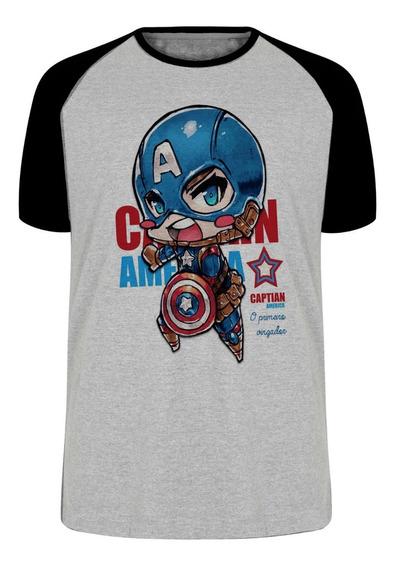 Camiseta Luxo Mini Capitão América Vingadores Avengers Marve