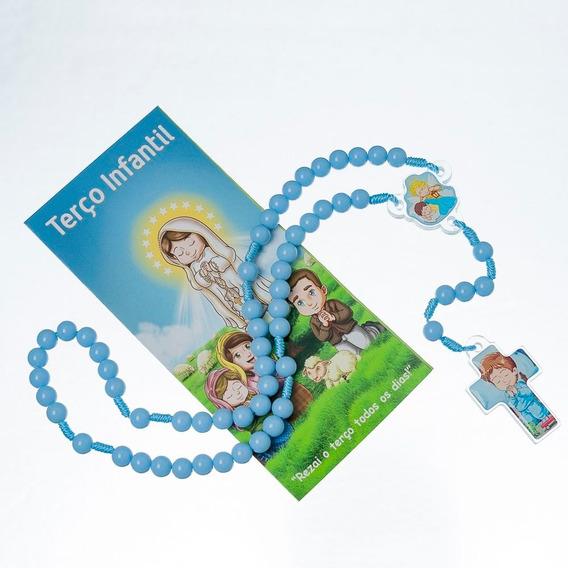 Terço Infantil Anjo Da Guarda Azul Ou Rosa Acrílico Resina