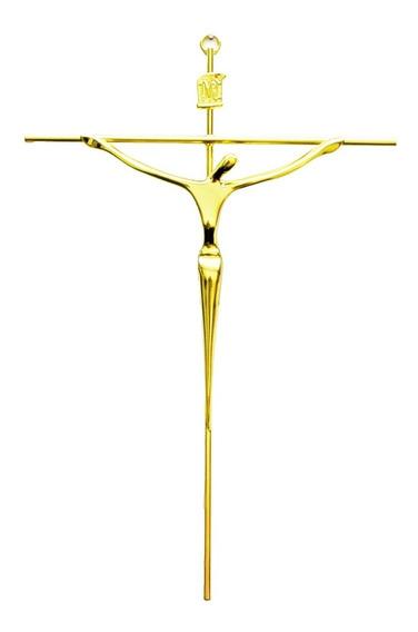 Crucifixo Cristo De Parede Dourado Estilizado Presente R75