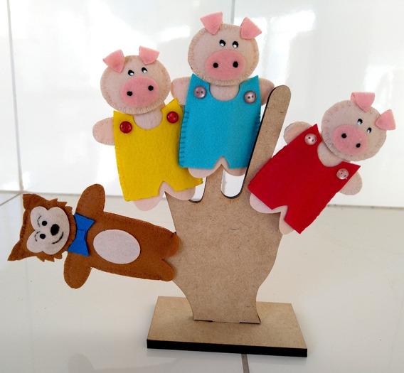 Dedoche Três Porquinhos Em Feltro