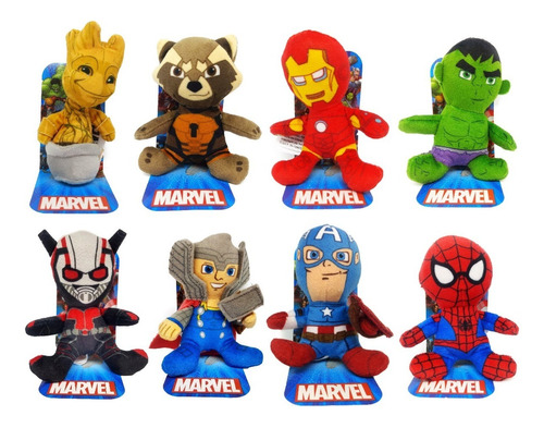 Imagen 1 de 9 de Combo X 8 Peluches Mini Avengers - Marvel
