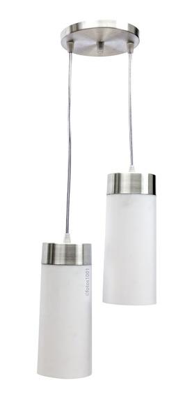 Pendente Copo Duplo Para 2 Lâmpadas Canopla Em Aluminio