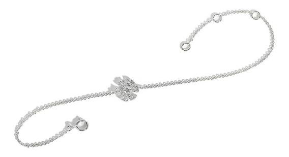 Pulsera Flor Ostara Con Diamantes En Oro Blanco 18kt (33872)