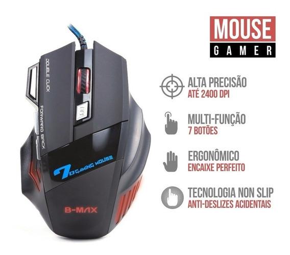 Mouse Óptico Gamer Colorido 2400 Dpi B-max