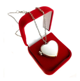 Colar Relicário Prata + Colocação Fotos Caixa Dia Namorados