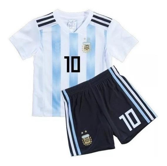 Kit Camiseta + Short Argentina Messi Nene Niños Mundial Rusia 2018 Original Oferta Futbol